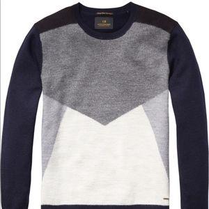 Scotch & Soda Color Block Wool Sweater Geometric